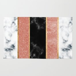 inlaid marble and metal stripes Rug