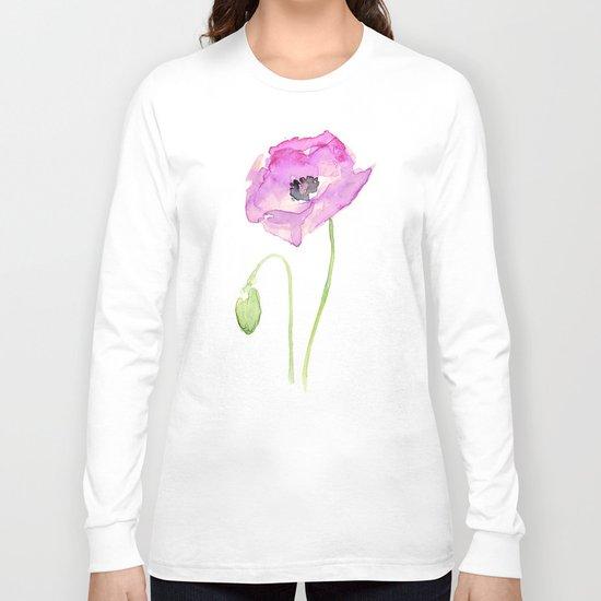 Flower Purple Poppy Floral Watercolor Long Sleeve T-shirt