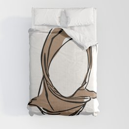 Hijab Woman 01, Single Line Art Colored Set Comforters