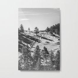 Boulder Colorado Park, Green Field, Path, Black & White (Chautauqua State Park) Metal Print