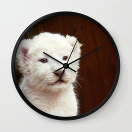 I will hug him and pet him and squeeze him and I will name him George - White Lion Cub Wall Clock