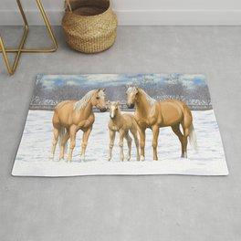 Beautiful Palomino Quarter Horses In Snow Rug
