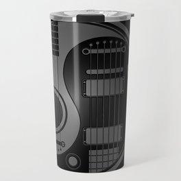 Gray and Black Acoustic Electric Yin Yang Guitars Travel Mug