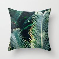 palm tree Throw Pillows featuring Palm Tree by Pati Designs