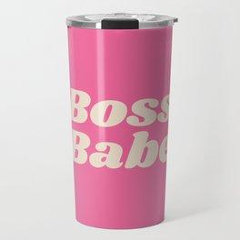 Retro Boss Babe - Pink Travel Mug