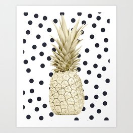Gold Pineapple on Black and White Polka Dots Art Print