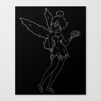 tinker bell Canvas Prints featuring Tinker Zombie by DRKMTTR Creative