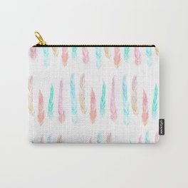 Wild and Free Watercolor Feathers Pattern II Carry-All Pouch