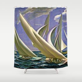 American Masterpiece 'Racing in Newport - America's Cup' by G. Foster Shower Curtain
