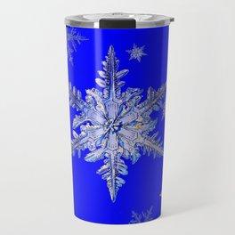 """""""MORE SNOW"""" BLUE WINTER ART DESIGN Travel Mug"""
