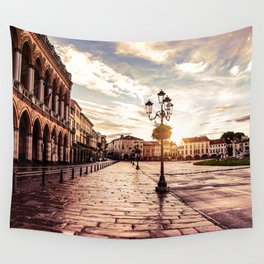 Sunset over square in Padova in Italy Wall Tapestry