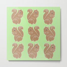 Light Brown Squirrels with Light Green Pattern Metal Print