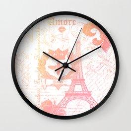 Paris: La Tour Eiffel Peach-ish Wall Clock