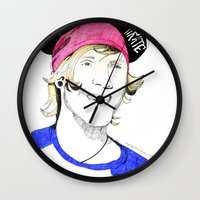 mcfly Wall Clocks featuring Dougie the pirate (McFly) by Mariam Tronchoni