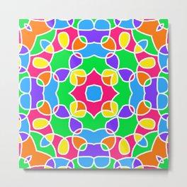Rainbow Mosaic Symmetrical Swirls Kaleidoscope 2 Metal Print