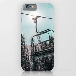 Empty Skilift // Dark Blue and Teal Snowboarding Dreaming of Winter iPhone Case