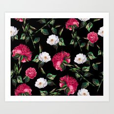 Dark Floral Pattern Art Print