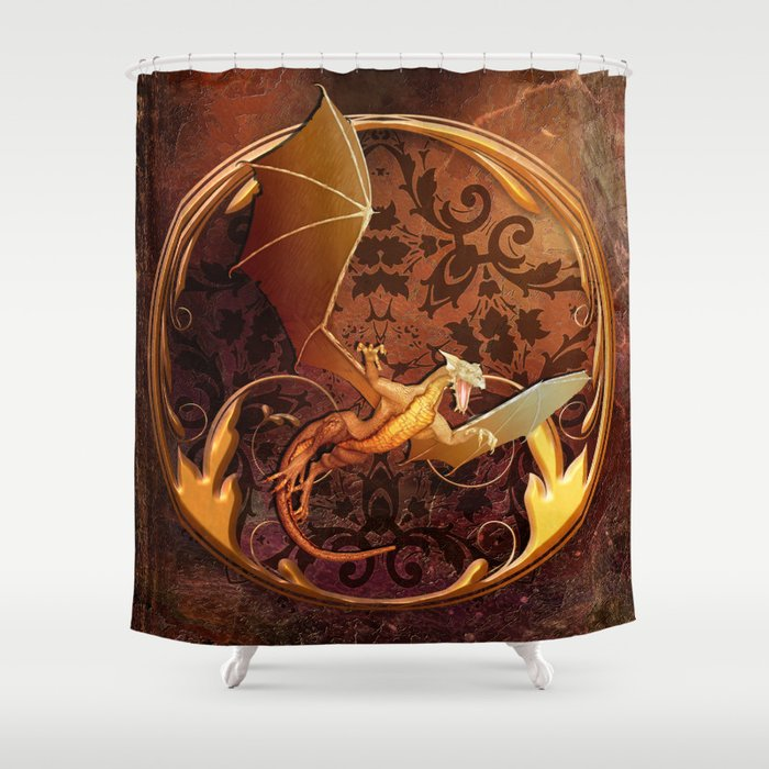 Gold Dragon Emblem On Faux Leather Shower Curtain By Lauragordon