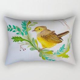Wreathed Yellow Warbler Rectangular Pillow