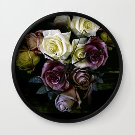 Roses Dark Moody Old Masters Wall Clock