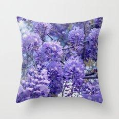 Wistful, Wishful, Ephemeral in Blue -- Spring Botanical Wisteria Vine Throw Pillow