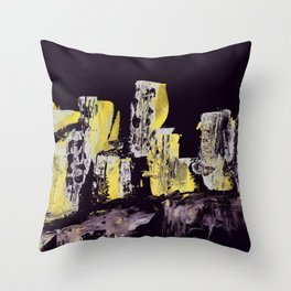 Yellow Purple Cityscape Throw Pillow