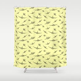 Airplanes on Yellow Shower Curtain