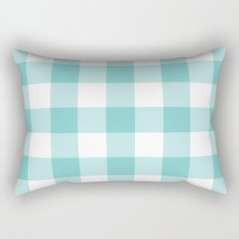 Aqua Gingham Pattern Rectangular Pillow