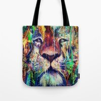 lion Tote Bags featuring Lion by nicebleed