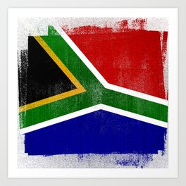 South African Distressed Halftone Denim Flag Art Print