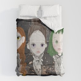 3 Ghost Girls - haunting vintage sign Comforters