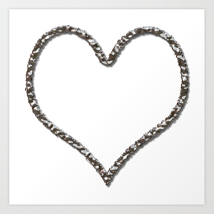 Liquid Metal Heart Shaped Frame Art Print by markuk97 | Society6