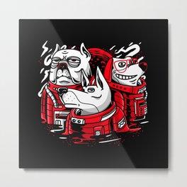 Astronauts Dogs Gift Idea Design Motif Metal Print