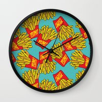 moschino Wall Clocks featuring Would You Like Fries With That? Teal by Season of Victory