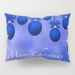 Merry Christmas Ornaments Bows and Ribbons – Blue Pillow Sham