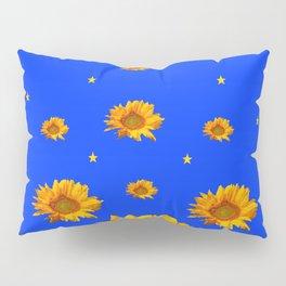 RAINING GOLDEN STARS YELLOW SUNFLOWERS BLUES Pillow Sham