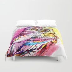 Neon Northern Pygmy Owl Duvet Cover