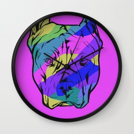 Colorful Pit Bull Dog On Purple Background Wall Clock