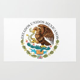 Coat of Arms & Seal  of Mexico on white Rug