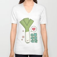 vocaloid V-neck T-shirts featuring Leeks are Awesome by Lisa Marie Robinson