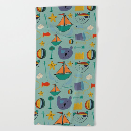 cat and bear at the beach blue green Beach Towel
