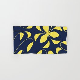 Leafy Vines Yellow and Navy Blue Hand & Bath Towel