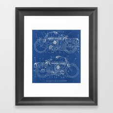 Motorcycle blueprint Framed Art Print