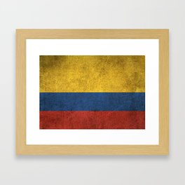 Old and Worn Distressed Vintage Flag of Colombia Framed Art Print