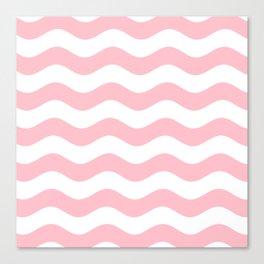 Wavy Stripes (Pink/White) Canvas Print