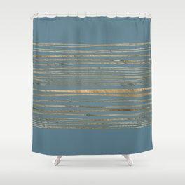Blueprint and Golden Stripes Shower Curtain