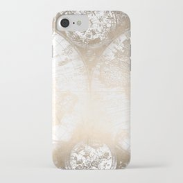 Antique White Gold World Map iPhone Case