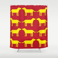 labrador Shower Curtains featuring Labrador gul by EMMAGRON