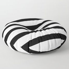 Black Stripes on White Floor Pillow