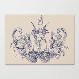 Sea Posse VI - Cherub, navy print Canvas Print